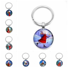 2019 Christmas Pre-selected Gift Santa Keychain Gives You The Best Glass Cabochon Claus Pattern