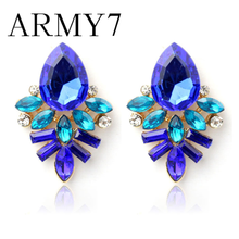 Ethnic Indian Big Earrings Fashion Women Lady Rhinestone Crystal Alloy Ear Studs Earrings Prom Pendant Ornaments Gifts Hot Pink(China)