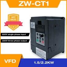 محول تردد قابل للتعديل سرعة VFD العاكس 1.5KW/2.2KW/4KW ZW CT1 3P 220 فولت الناتج عن موتور عاكس للترددات المنخفضة wzw