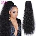 WTB длинный афро кудрявый конский хвост для женщин синтетические накладные волосы на шнурке Резиновая лента для волос с шпильками для наращи...
