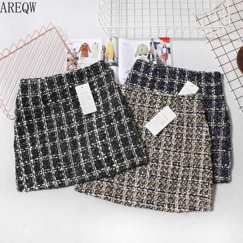 Preto tweed saia 2019 outono inverno feminino coreano elegante xadrez jupe femme bonito bottoms para senhoras uma linha curto mini saias
