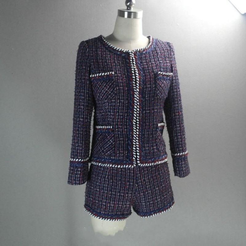 Purple Women Two Piece Outfits Brand Womens Tweed Jacket Shorts Set Female O-Neck Coat Small Fragrance Jackets Woven Lady Suit
