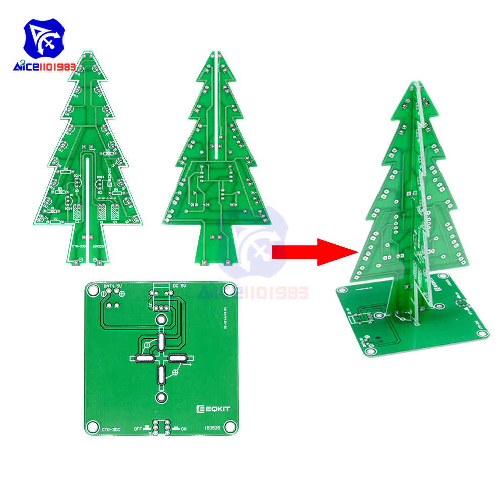 diymore DIY 3D Christmas Tree Soldering Practice Electronic Science Assemble Kit 3 Color/7 Color Flashing LED PCB