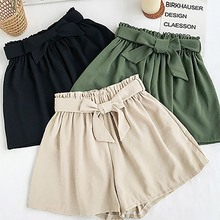Women's Shorts Summer Bow Tie Solid Color Wide Leg Shorts Drawstring High Waist Plus Size Casual Elastic Waist Loose Shorts