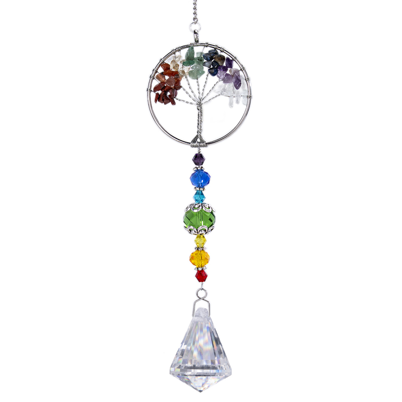 H&D Chakra Healing Natural Stone Tree Of Life Suncatcher Window Hanging Ornament Rainbow Maker Collection For Home Garden Decor