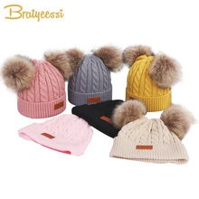 13 Colors Winter Baby Hat for Girls Knit Pompom Children Hats Warm Beanie Detachable Pom Kids Boy Cap