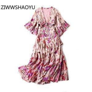 Женское пляжное платье с v-образным вырезом ZIWWSHAOYU, модное дизайнерское длинное платье с каскадными оборками на талии, лето 2019
