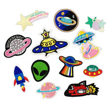 UFO Alien parches Embroidered Iron on Patches for Clothing DIY Astronaut Stripes Universe Sewing Space Ship Planet Clothes(China)