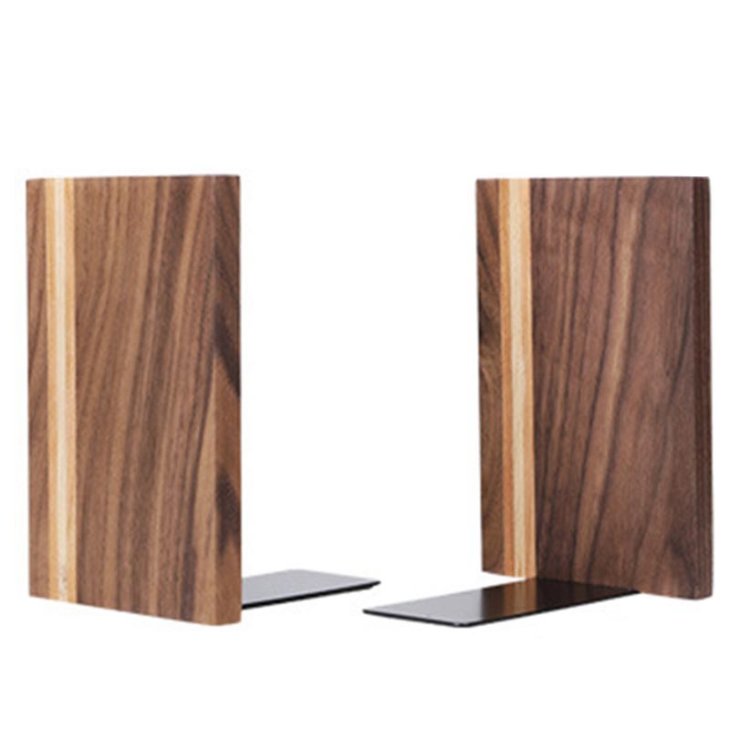 2Pcs Wooden Bookends With Metal Base Heavy Duty Book Stand With Anti-Skid Dots For Office Desktop Or Shelves Decorative Bookend