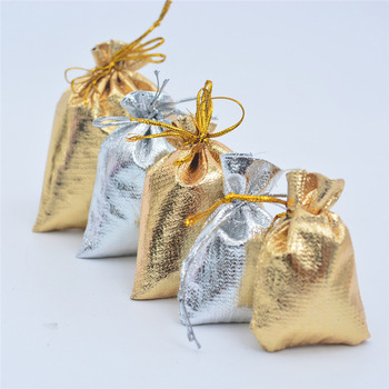 10 Sizes Gold Silver Color Organza Bag Jewelry Packaging Bag Wedding Party Favour Candy Bags Favor Pouches Drawstring Gift Bags