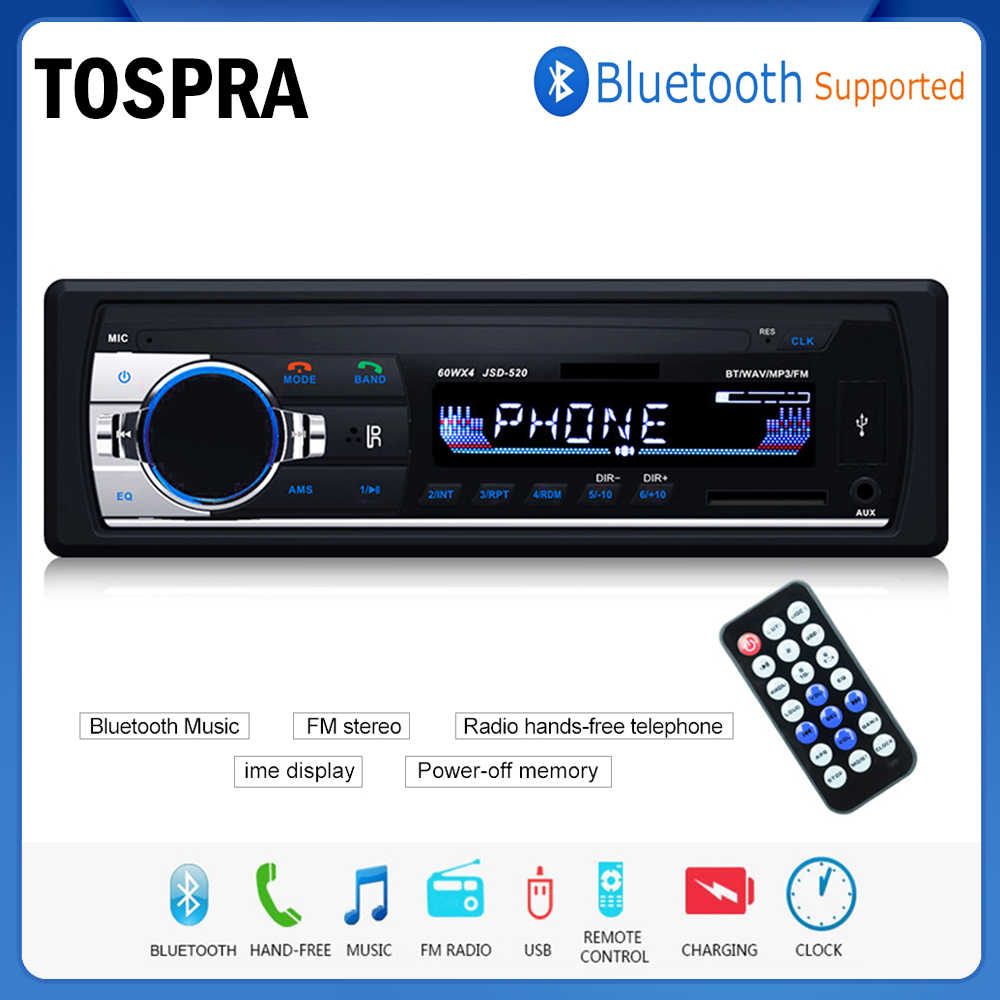 Tospra Mobil Multimedia Player Bluetooth Auto Radio MP3 Musik Player Mobil Stereo Radio FM AUX Input Receiver USB 12V dash 1 Din