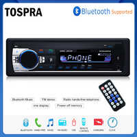 TOSPRA Car Multimedia Player Bluetooth Autoradio MP3 Music Player Car Stereo Radio FM Aux Input Receiver USB 12V In-dash 1 din