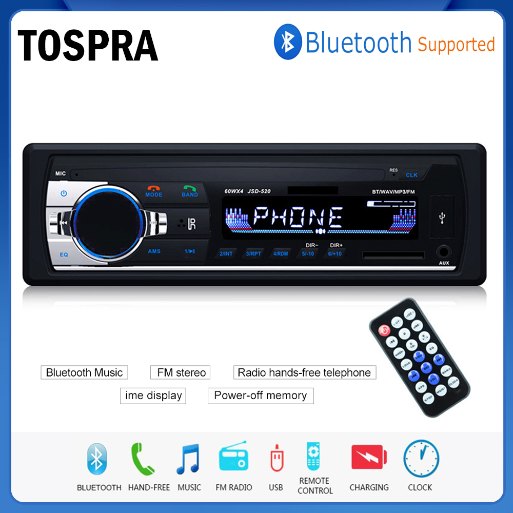TOSPRA Car Multimedia Player Bluetooth Autoradio MP3 Music Player Car Stereo Radio FM Aux Input Receiver USB 12V In-dash 1 din image