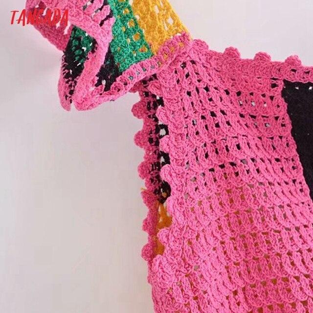 Tangada Women's Summer Dress Fashion Patchwork Crochet Dresses Ruffles Female Casual Beach Dress 3H771 5