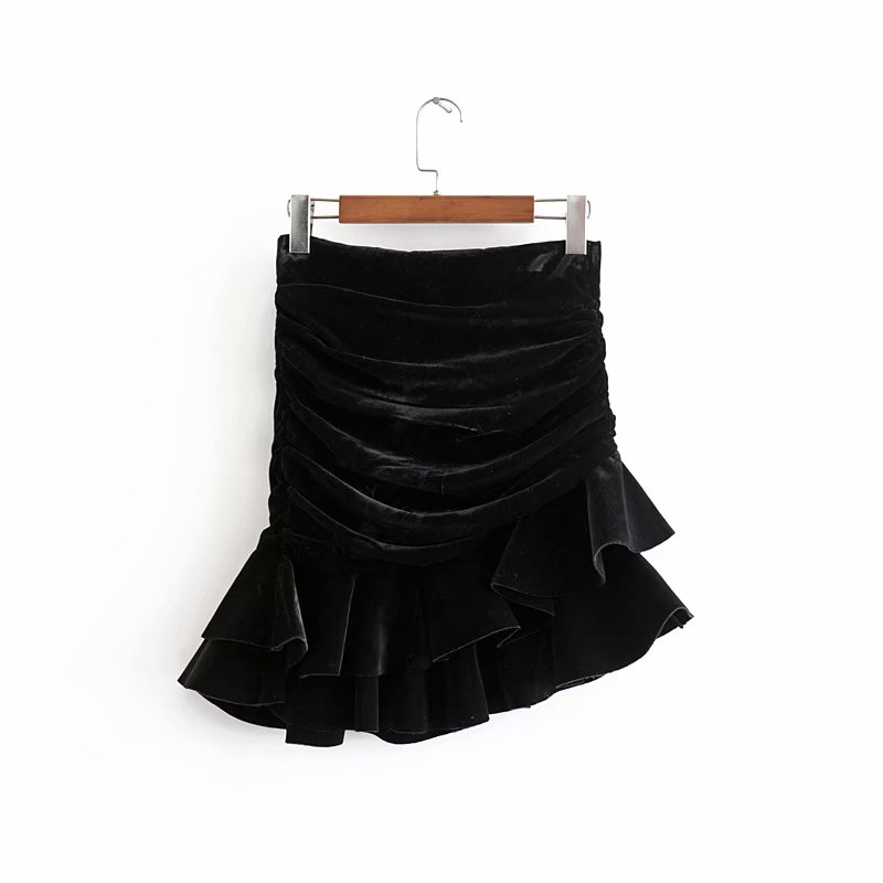 Vintage Chic Ruched Asymmetrical Velvet Skirt Za 2019 Fashion Women Back Zipper Mini Skirts Casual Jupe Femme