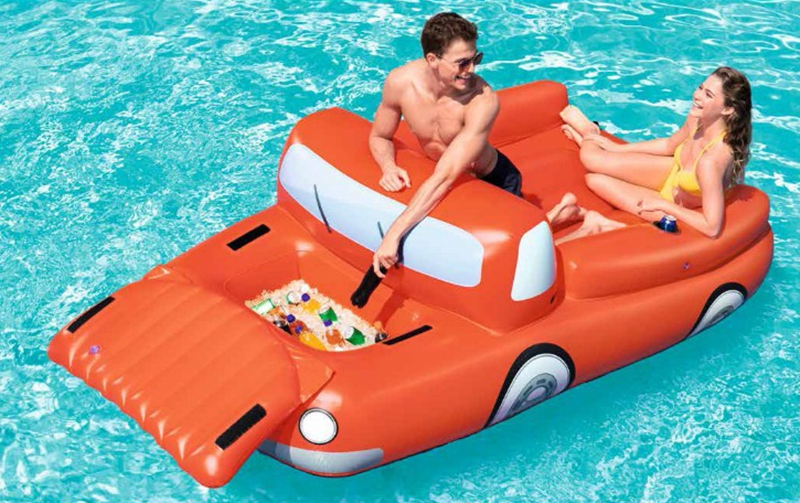 2 person inflatable giant car pool float with cooler cup holder swimming pool party floating boat water lounger air mattress