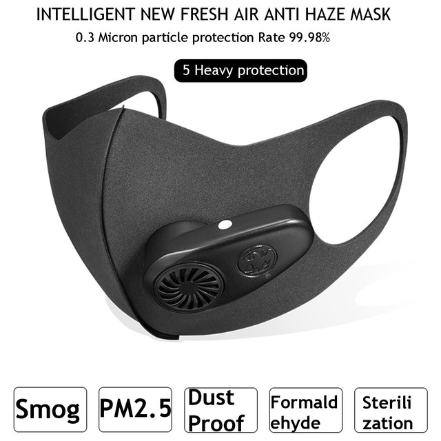 N95 Smart Electric Face Mask Air Purifying Anti Dust Pollution Fresh Air Supply pm2.5 With Breathing Valve 5 Replaceable Filter 4