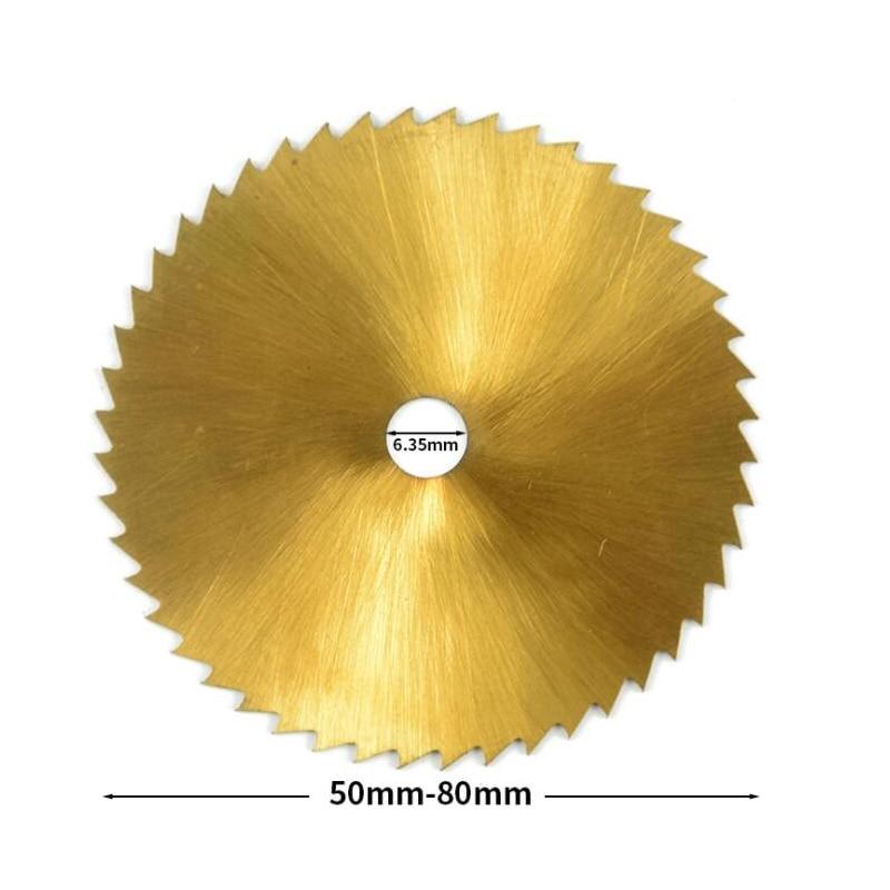 1pc 50mm 60mm 80mm Wood Circular Saw Blade For Dremel Rotay Tools 6.35 And 6 Mm Hole Cutting Discs Mandrel Cutoff Mini Saw Blade