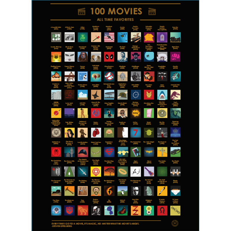 Scratch Off Poster 100 Must-See Movies Top Films Of All Time Bucket List(60X42cm)