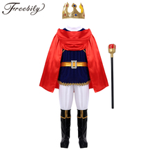 Kids Boys Medieval Prince Costume Tops with Pants Belt Cloak Scepter Shoe Covers Set Children Halloween Cosplay Party Dress Up