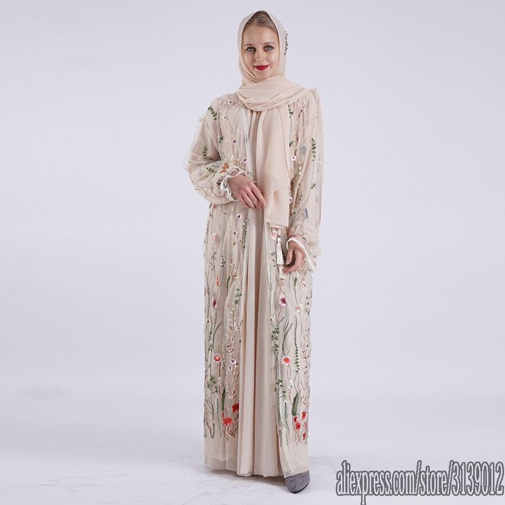 Flora Arabic Abaya Dubai Kimono Cardigan Hijab Muslim Dress Kaftan Eid Abayas Turkish Islamic Clothing For Women Ramadan Caftan