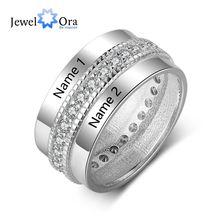 Мода персонализированные Обручение кольцо Медь изготовленные на заказ кольца для Для женщин гравировкой любовника кубического циркония ювелирных изделий(Jewelora RI103505