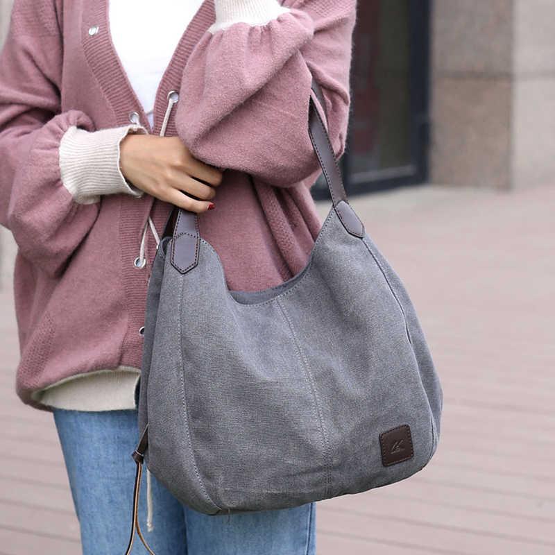 Handtas Vrouwen Schoudertas Canvas Messenger Kwaliteit Multi-Bag Handtas Toevallige Grote Capaciteit Rits Schouder Handtas Dame Zakken