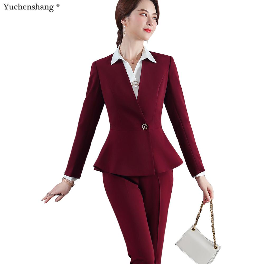 2019 New Arrival High Quality Elegant Womens Pant Suit Slim Ruffle Blazer And Pant 2 Pieces Sets Suit 5XL