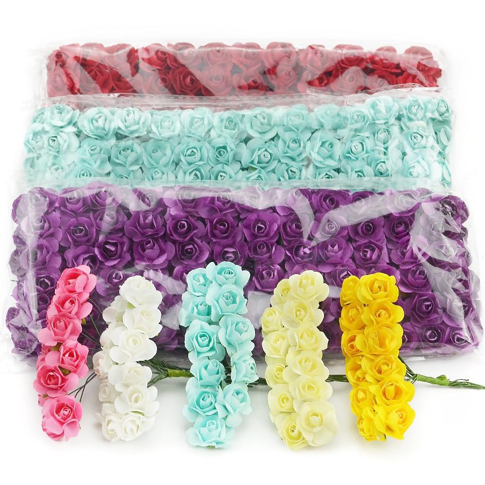 144 шт 1,5 см мини букет бумаги розы Искусственные цветы руки для свадебного украшения Скрапбукинг маленький поддельный цветок букет