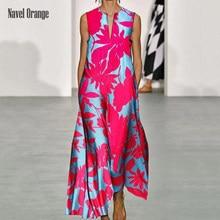 Profundo decote em v sem mangas moda imprimir vestido longo verão solto casual elegante vestido feminino diário festa streetwear plus size