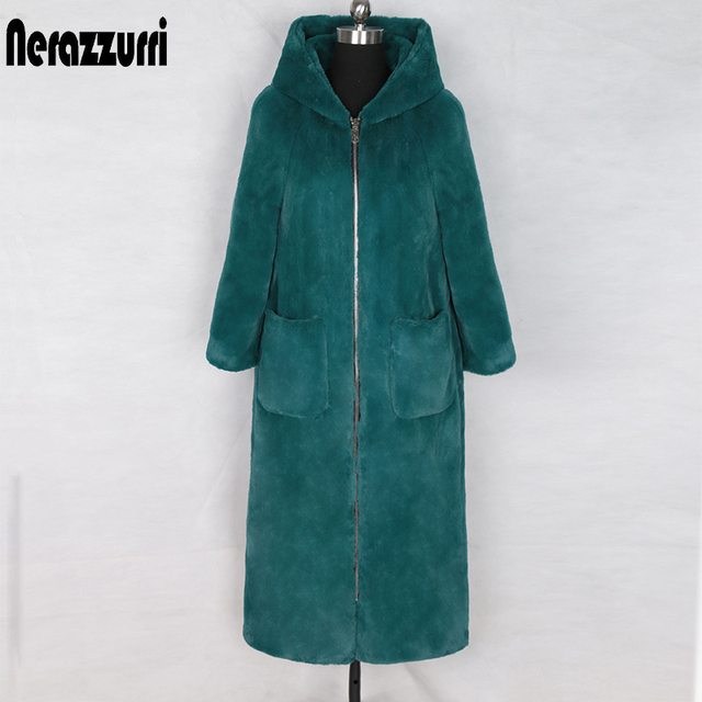 Nerazzurri long winter faux fur coat with hood long sleeve zipper black furry fake rabbit fur outwear plus size shealing jacket