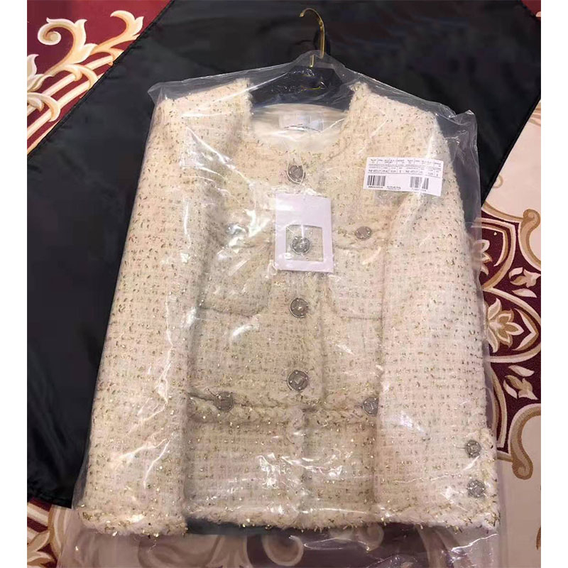 Cosmicchic Luxury Wool Tweed Jacket Women Autumn Elegant White Short Coat Long Sleeve Gold Thread Weaving OL Ladies Jacket