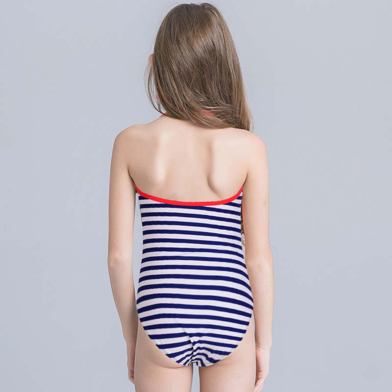One-piece Swimming Suit Girls Navy Stripes Export Swimwear Small CHILDREN'S Fashion Sequin AliExpress