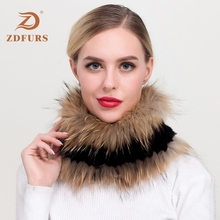 ZDFURS*2019 New Womens Real Rex Rabbit Fur Scarf Raccoon Silver Trimming Genuine Knitted Scarfs Infinity Ring Scarves