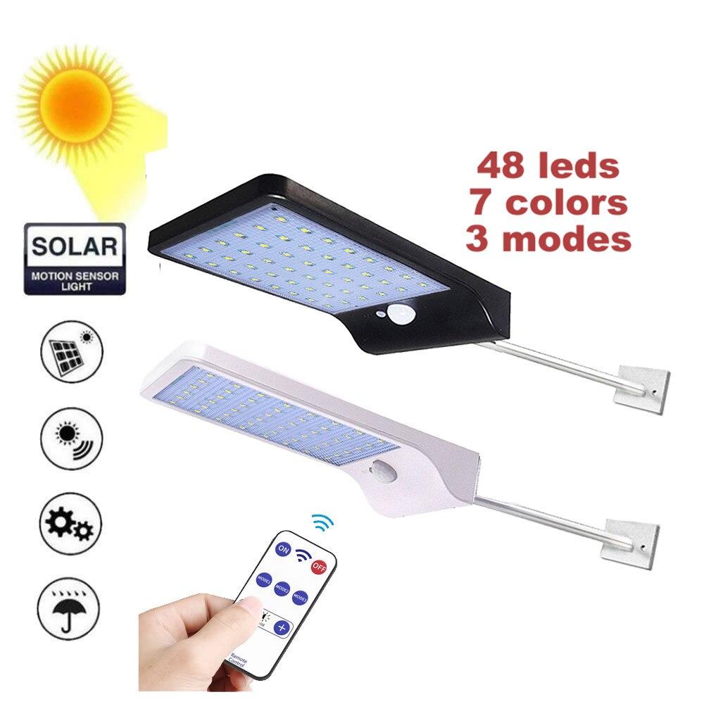 48 LED Outdoor Solar Wall Light PIR Motion Sensor Solar Lamp Waterproof Infrared Sensor Garden Light remote controller & timer m|Solar Lamps| |  - title=