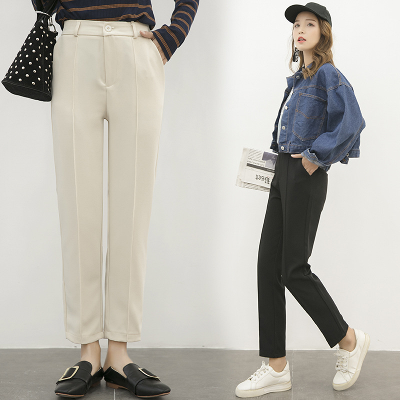 19 Spring And Autumn New Style Capri Pants Women's Drainpipe Jeans Slim Fit Straight-Cut High-waisted Black Pants Skinny Suit Pa