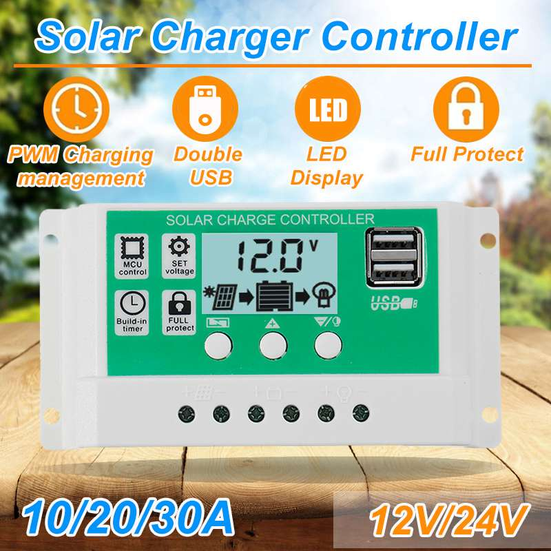 10A/<font><b>20A</b></font>/30A <font><b>12V</b></font> 24V Auto Solar Charge Controller PWM Controllers LCD Dual USB 5V Output Solar Cell Panel Regulator with Load image