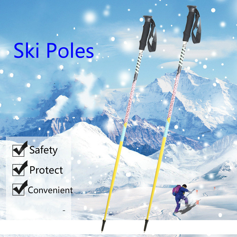 Outdoor Ski Sport Aluminum Ski Poles 115cm / 120cm / 125cm / EVA Handle Safe And Convenient  Aluminum Alloy 6061 Ski Poles