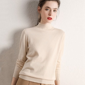 Winter Turtleneck Sweater Women Short Pullover Cashmere Sweater Ladies Pure Cashmere Slim Warm Bottoming Sweater Female Tops Q49 image
