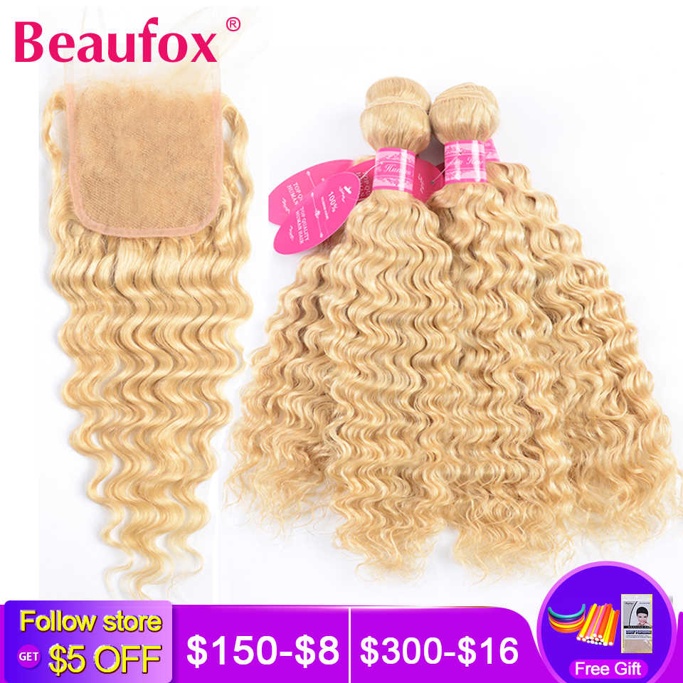 Beaufox Blonde Bundles With Closure Malaysian Deep Wave Bundles With Closure Remy Blonde 613 Human Hair Bundles With Closure