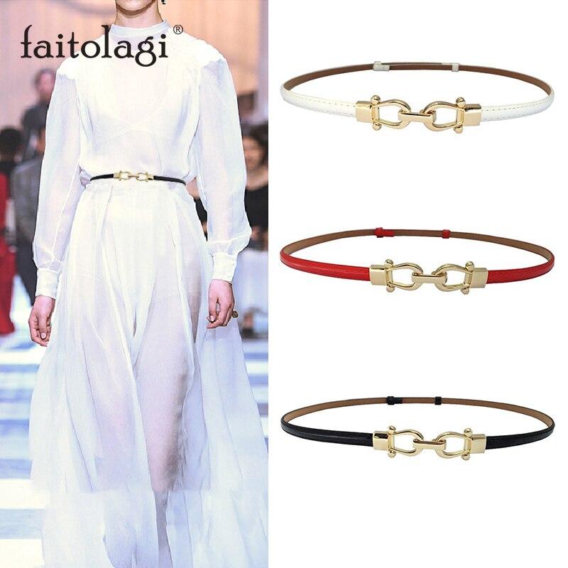 Fashion Stretch Ladies Dress Belt Elastic Skinny White Black Women Waist Belt Adjustable Leather Thin Female Waistband