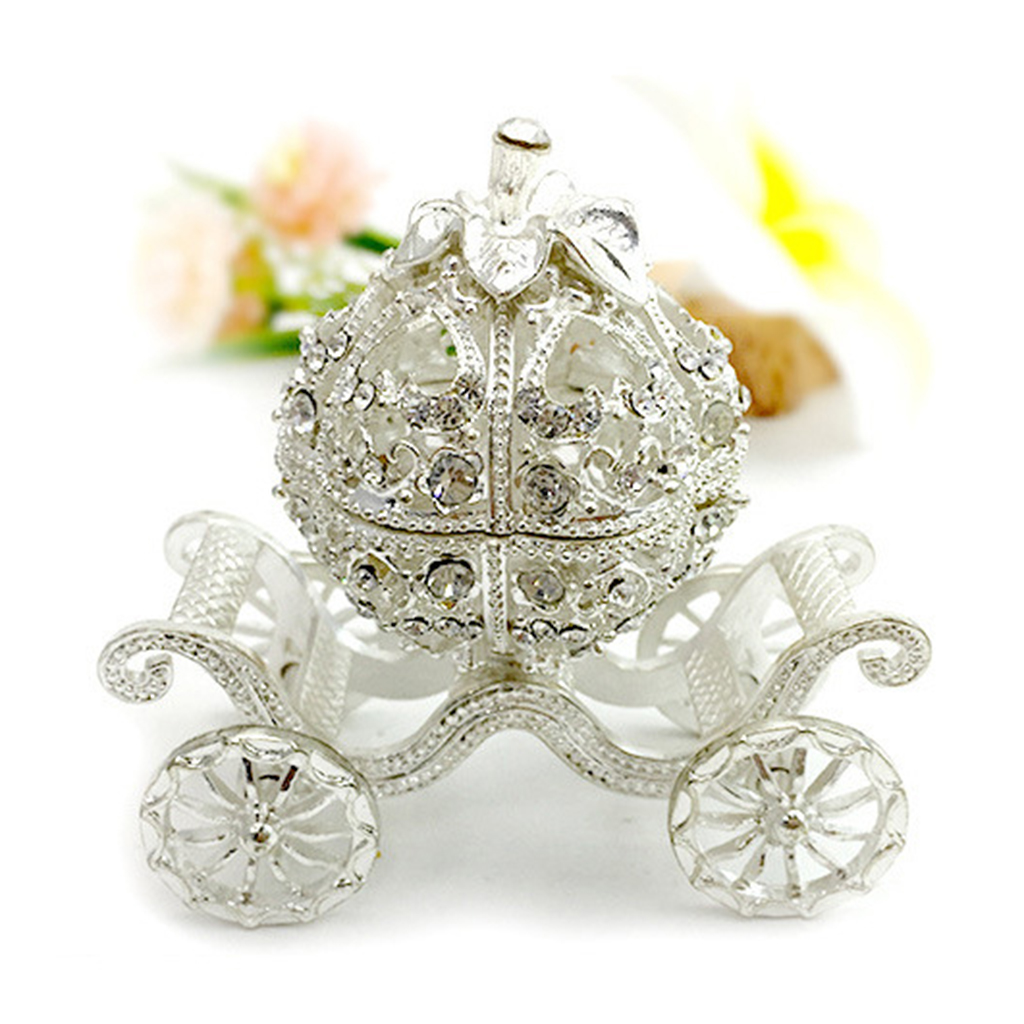 Metal Rhinestone Jewelry Trinket Box Pumpkin Carriage Shape Craft Home Decor