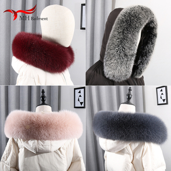 2020 Winter New Real Fox Fur Collar Furry Ladies Scarf Women Large Plus Size Shawl Warm Coat Collar Luxury Brand Scarves image
