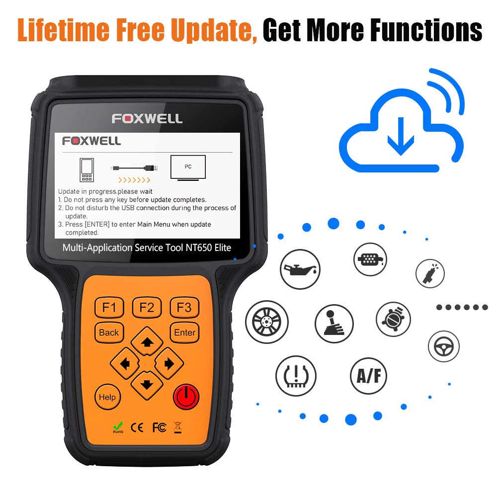 FOXWELL NT650 Elite OBD2 Automotive Scanner ABS SRS SAS DPF Oil Reset Code Reader 15