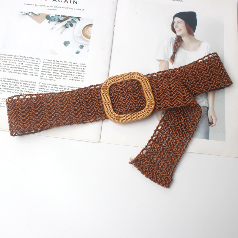 New Vintage Knitted Wax Rope Wooden Bead Waist Rope Women Smooth Buckle Belt Woman Woven Female Hand-Beaded Braided Belt BZ25