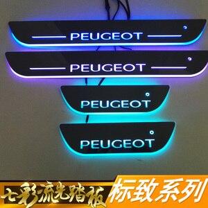 Порог led бар двери порога пластины потертости для peugeot 308 408 508 4008 динамическая отделка Добро пожаловать светильник инфракрасный датчик