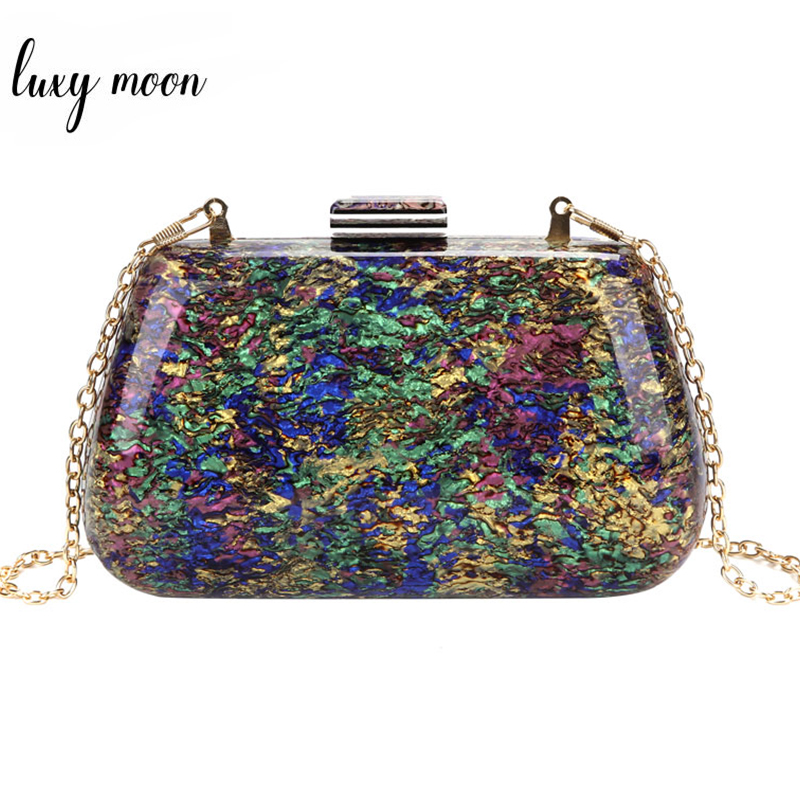 Acrylic Clutch Bags Women Party Handbags Small Messenger Bags Colorful Shell Marble Evening Bags For Women Wedding Purse ZD1383