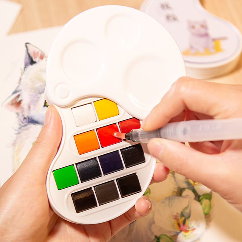 New Arrival 12/17Color Fold Watercolor Paint Set for Beginner Painting Chinese Style Outdoor Travel Water Color Art Supplies