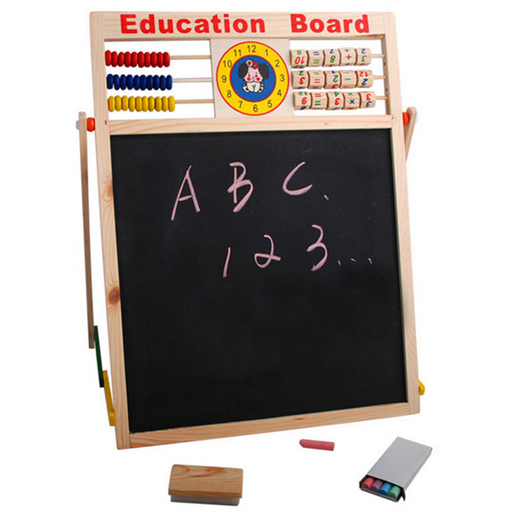 Children Wooden 2 In 1 Blackboard Magnetic Whiteboard Double Sided Drawing Writing Education Board Easel  Marker Pen Chalk Toys