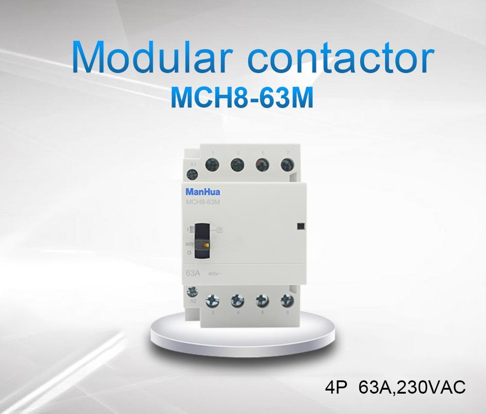 ManHua 4NO o 4NC o 2NO 2NC 4P 63A 220 V/230 V 50/60 HZ, carril Din hogar ac contactor Modular con interruptor de Control Manual TOCT1 2P 25A 220 V/230 V 50/60 HZ, carril Din hogar ac contactor Modular 2NO 2NC o 1NO 1NC
